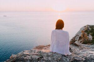 woman viewing sunset